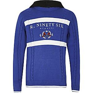 Blauwe gebreide hoodie met 'R96'-borduursel voor jongens