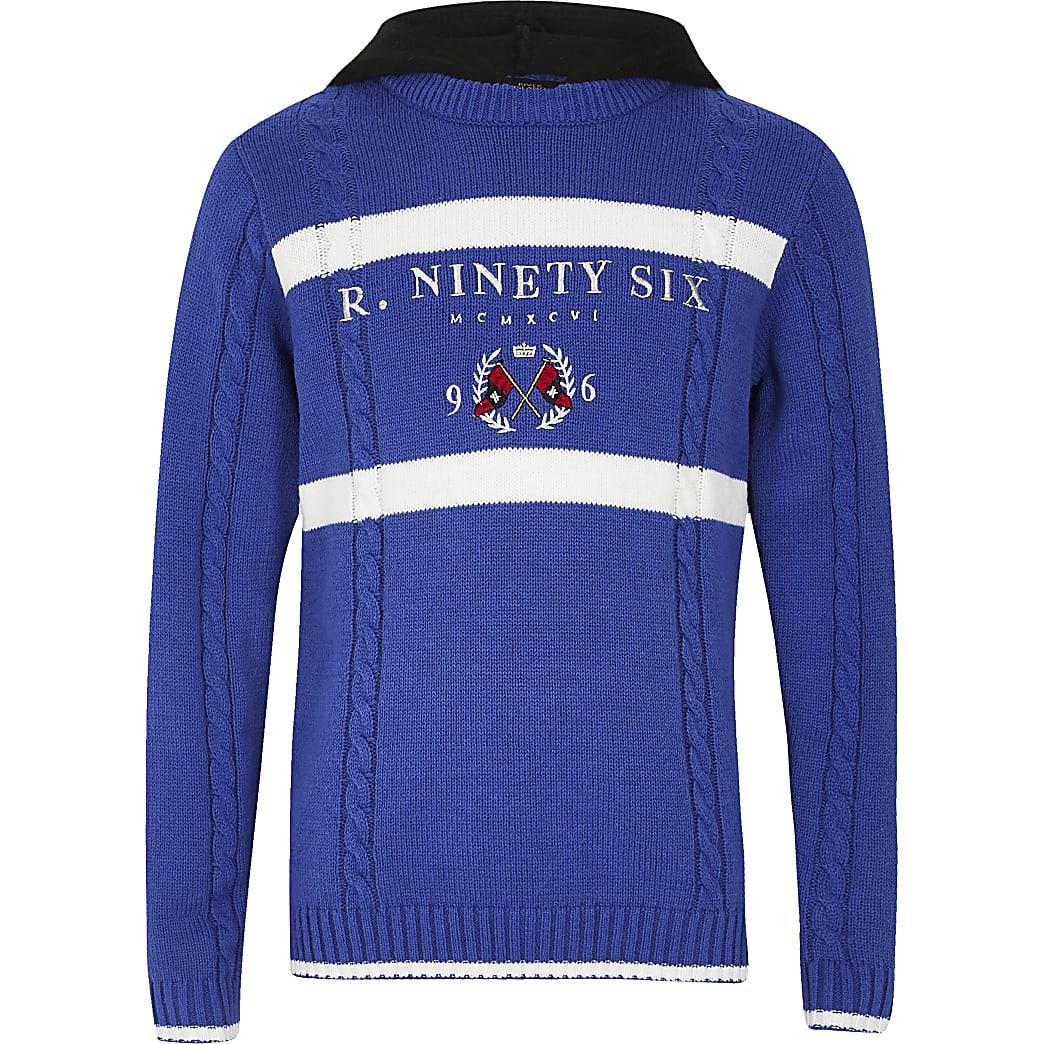 Boys blue 'R96' knitted hoodie