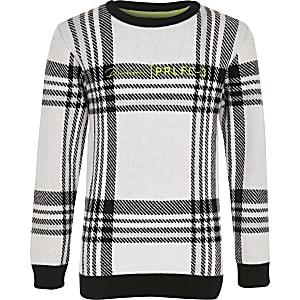Prolific - Witte geruite gebreide trui voor jongens