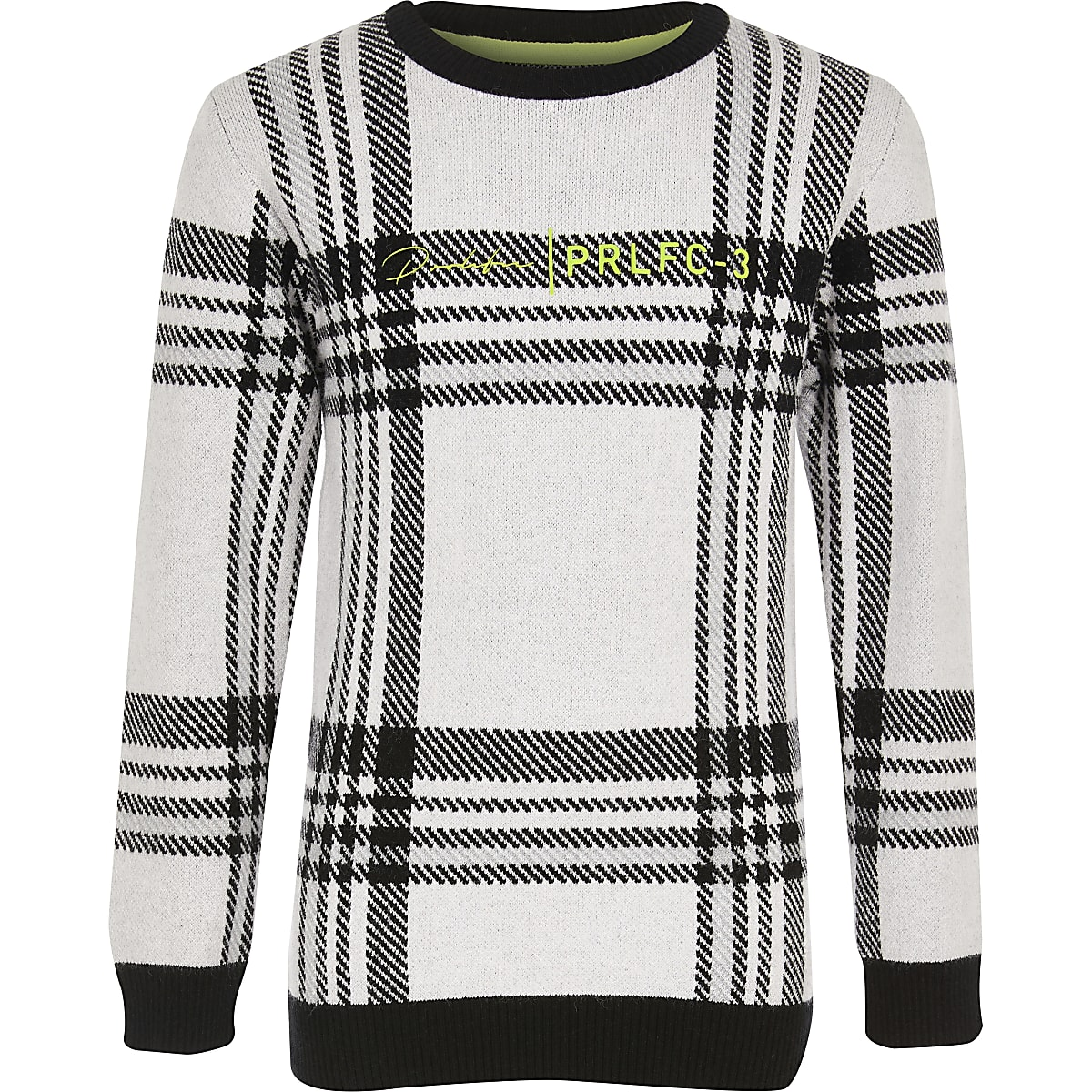 Boys white check Prolific knitted jumper