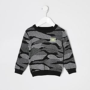 Mini - Zwarte pullover met camouflageprint voor jongens