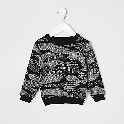 Mini boys black camo print RI jumper
