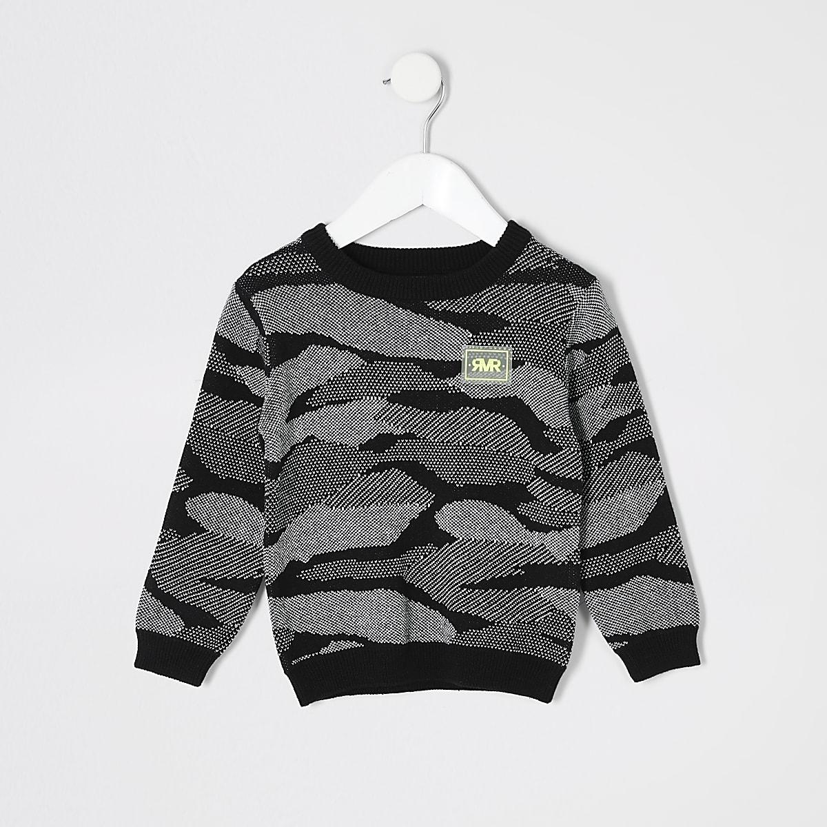 Pull RI imprimé camouflage noir mini garçon