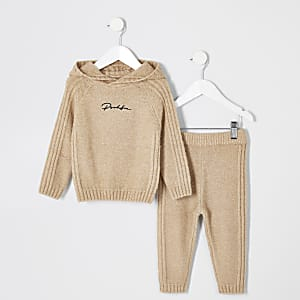 Prolific - Lichtbruine gebreide outfit voor mini-jongens