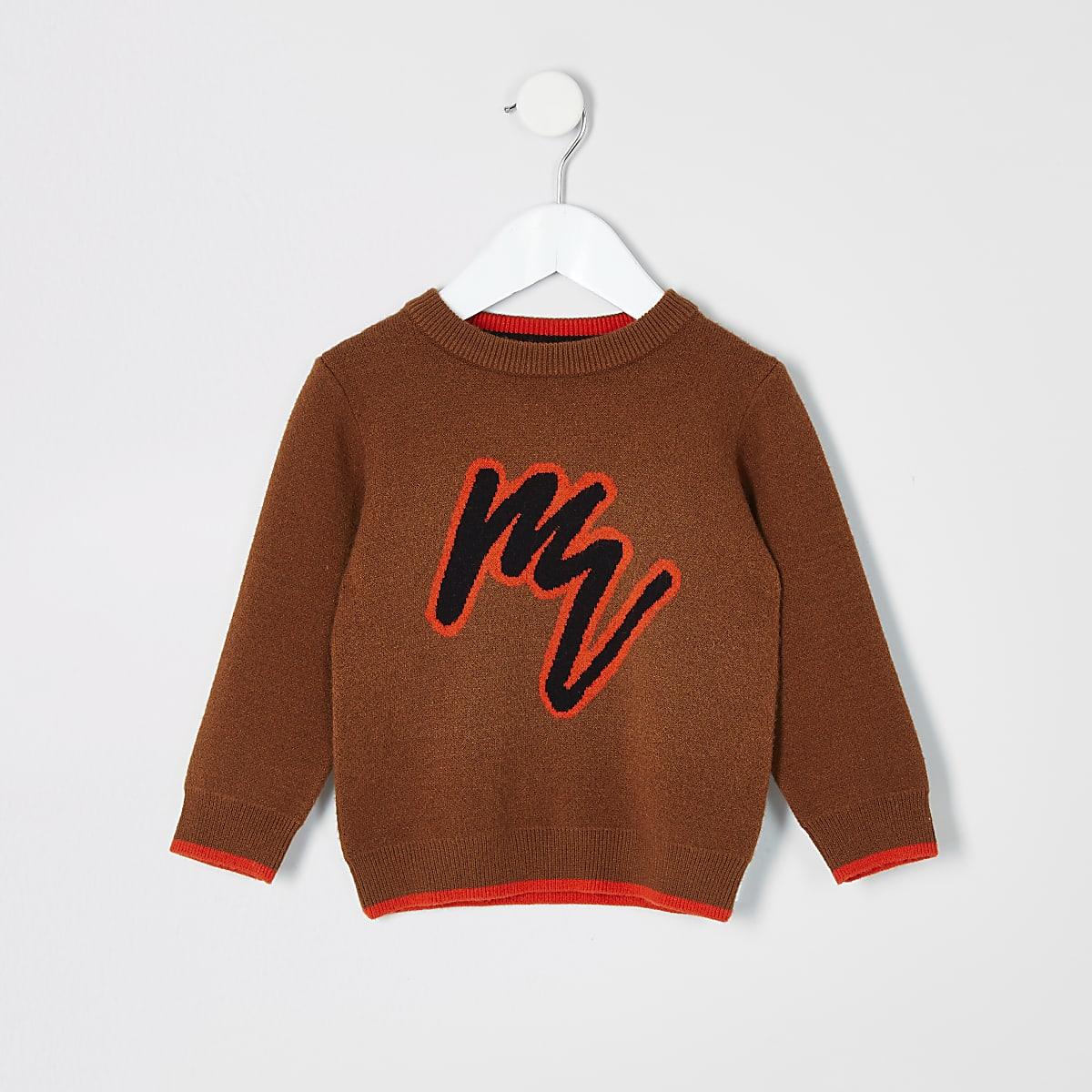Mini boys brown Maison Riviera jumper
