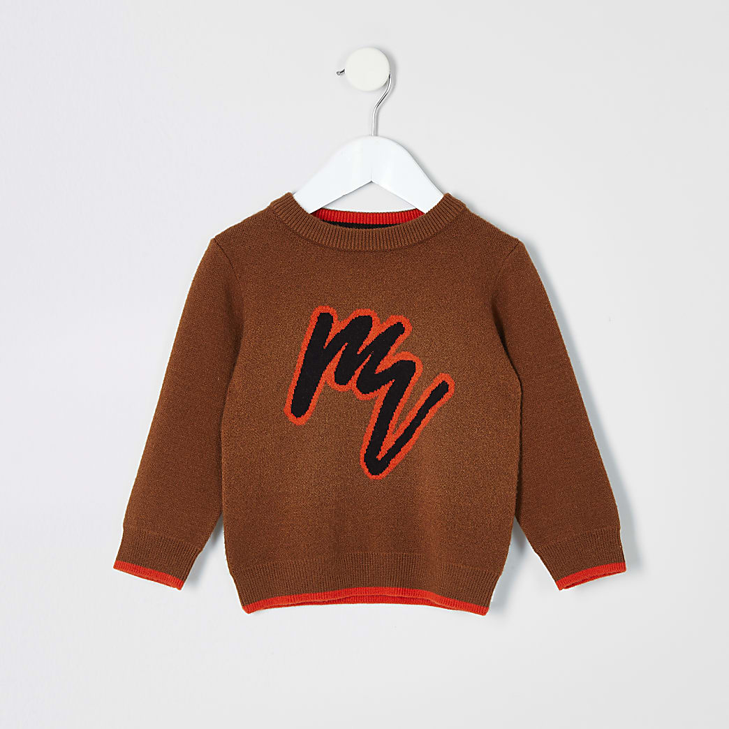 Mini boys brown Maison Riviera jumper