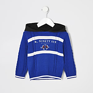 Mini - Blauwe gebreide hoodie met 'R96'-borduursel voor jongens
