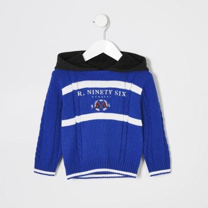 Mini boys blue 'R96' knitted hoodie