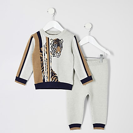 Mini boys cream tiger print sweatshirt outfit