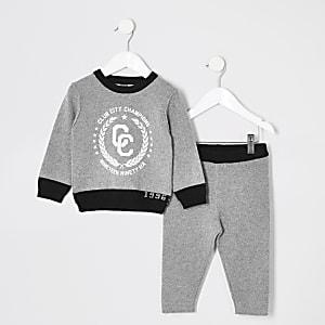 Mini - Grijze gebreide sweatshirt outfit voor jongens