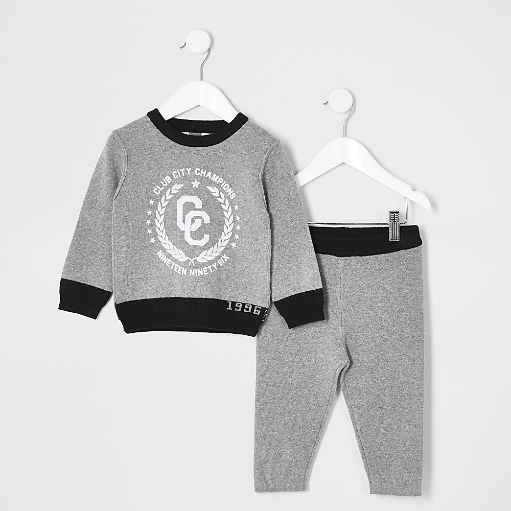 Mini boys grey knitted sweatshirt outfit