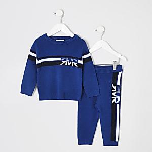 Mini - Blauwe gebreide RVR pullover outfit voor jongens