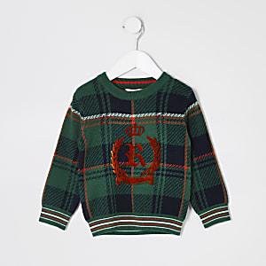 Mini - Groene geruite gebreide trui met RI-embleem voor jongens
