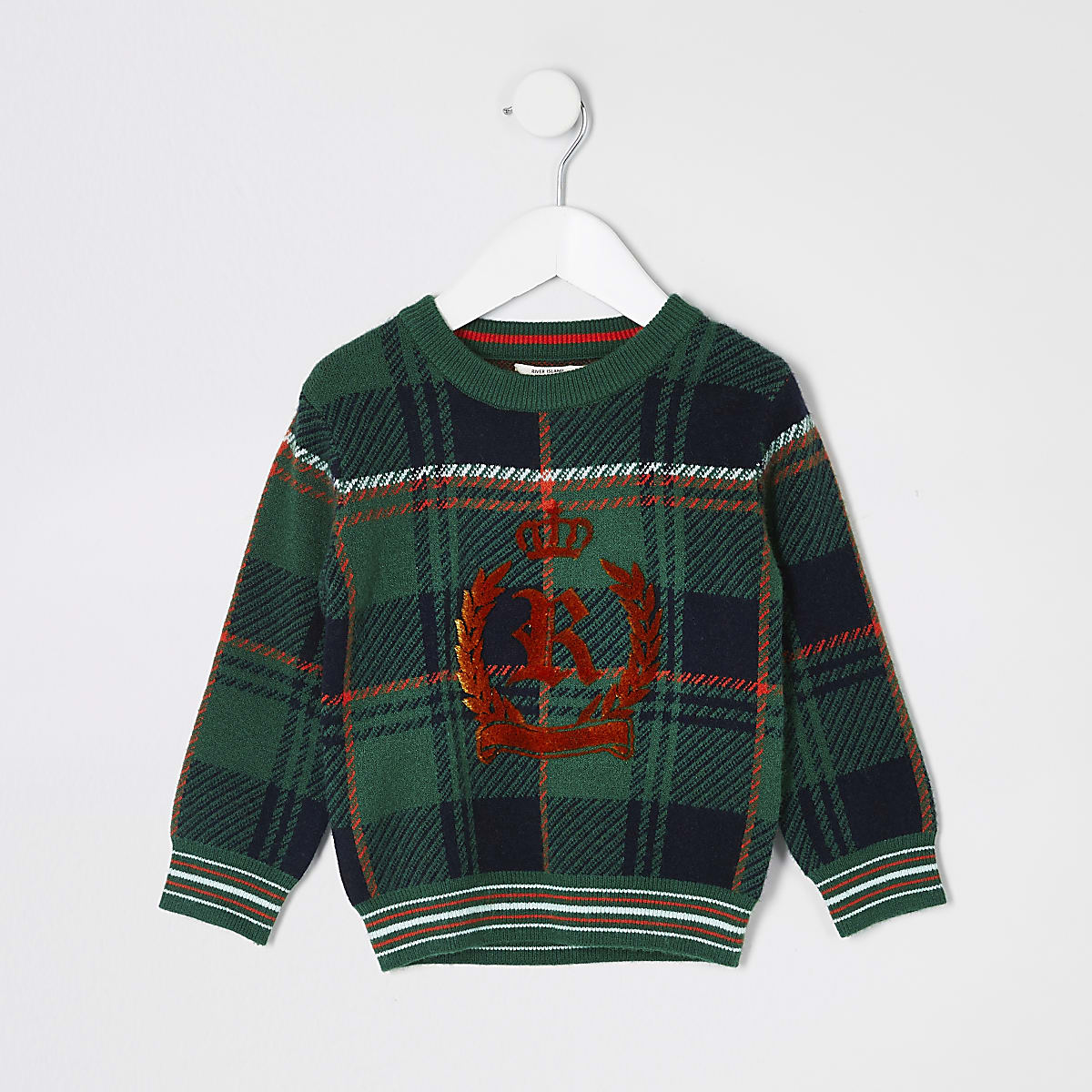 Mini boys green check RI crest knitted jumper