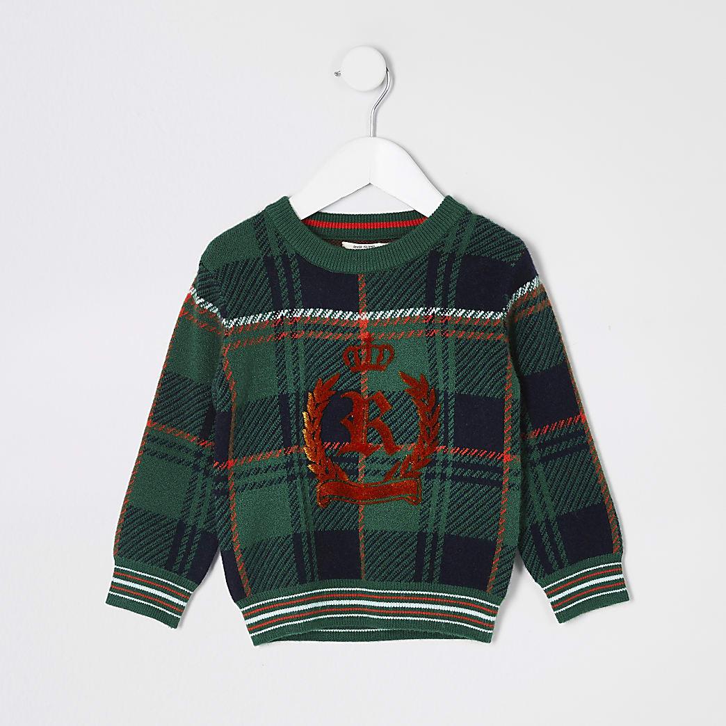 Mini boys green check RI crest knitted jumper