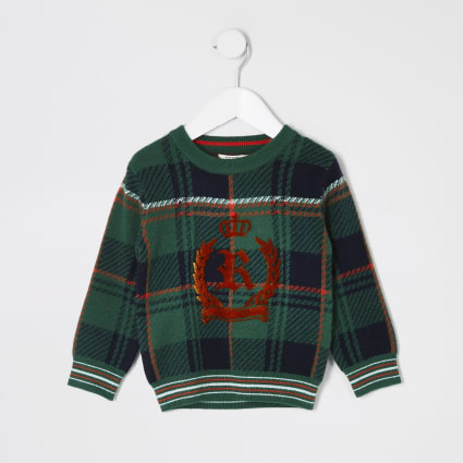 Mini boys green check RI crest jumper