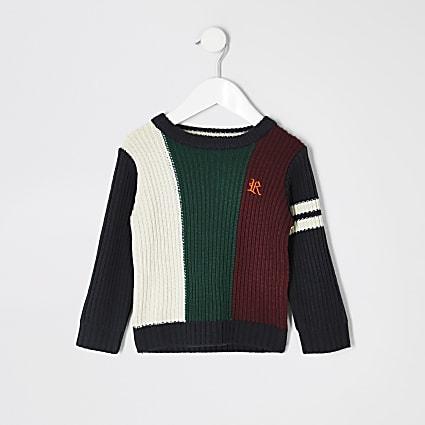 Mini boys navy blocked knitted jumper