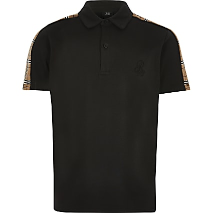 Boys black R96 check tape polo shirt