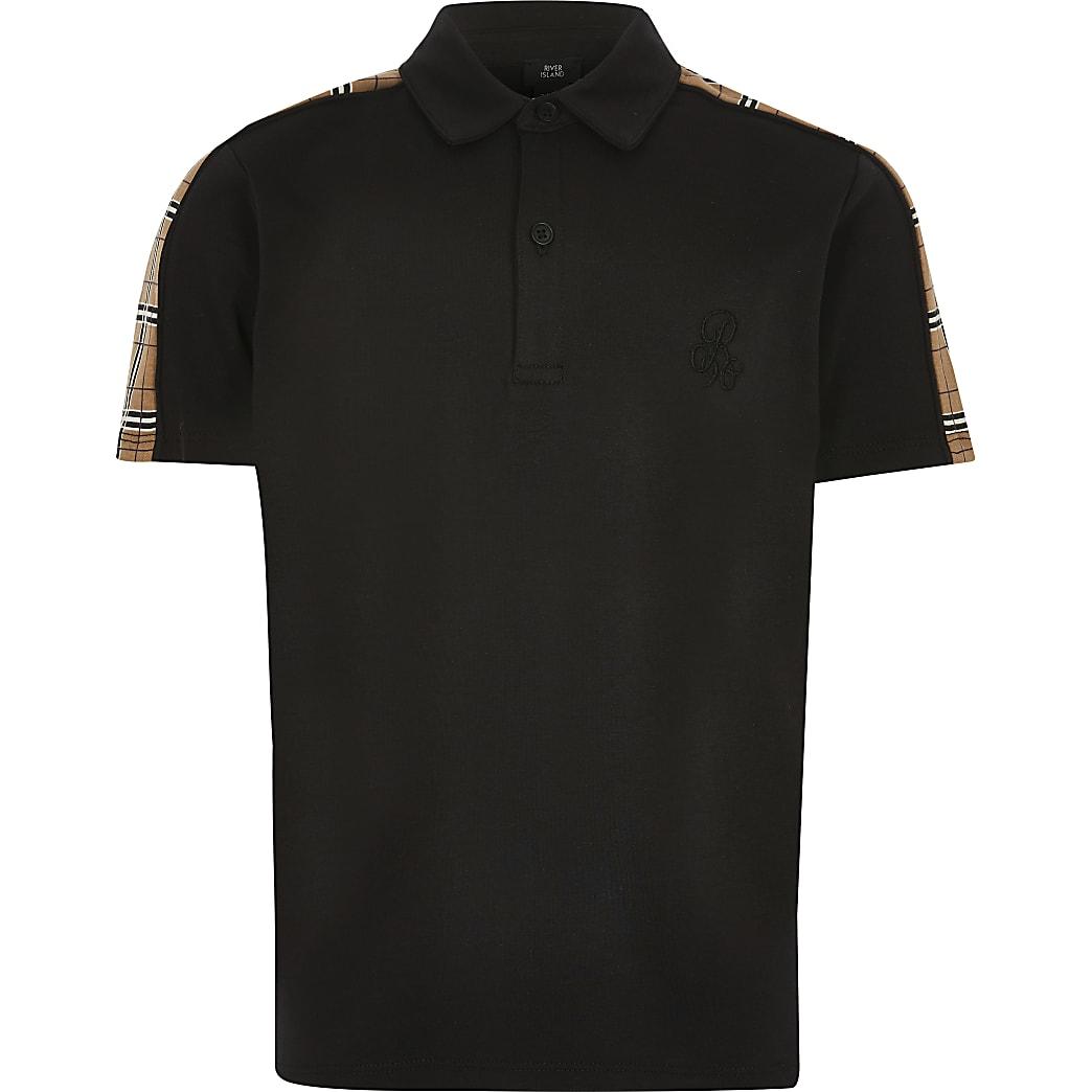 Polo à bande à carreaux noir R96 pour garçon