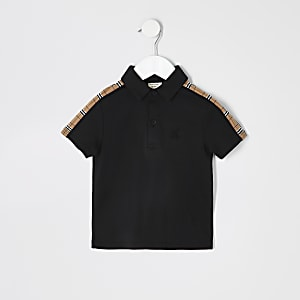 Mini boys black check trim polo shirt