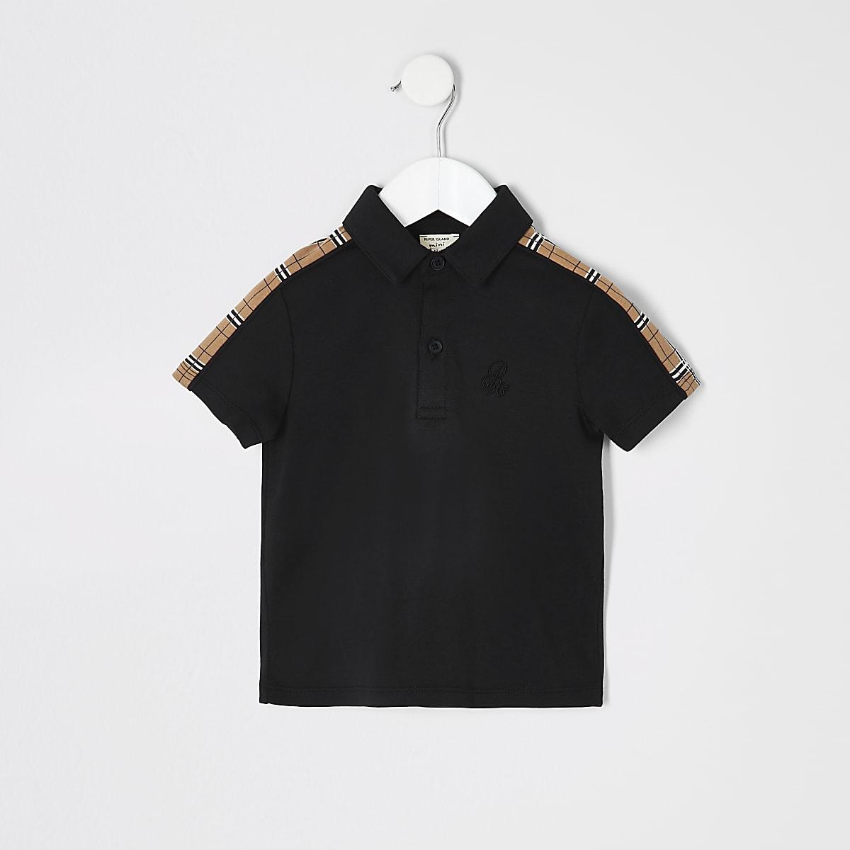 Mini boys black check trim polo shirt