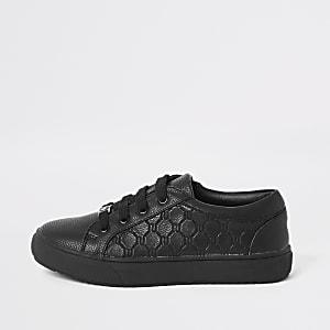 Baskets noires à lacets avec logo RI pour garçon