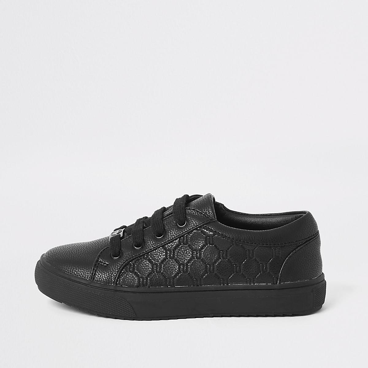 Zwarte vetersneakers met RI-monogram voor jongens