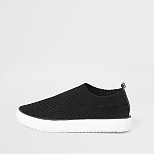 Boys black sock trainers