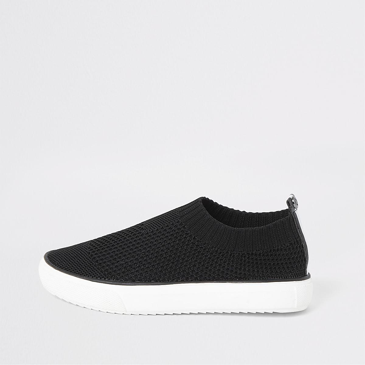 Boys black sock trainers