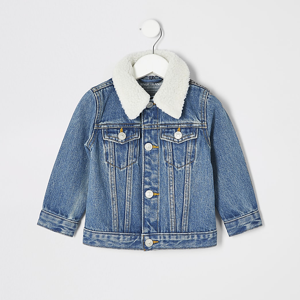 Mini kids blue borg collar denim jacket