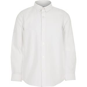 Wit jongensoverhemd met lange mouwen, van keperstof