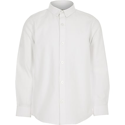 Boys white twill long sleeve shirt