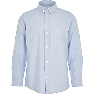Boys blue twill long sleeve shirt
