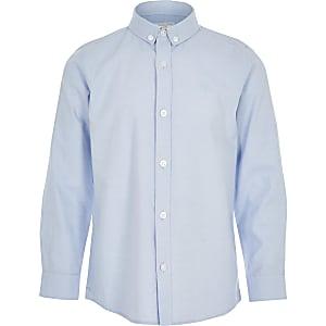 Blaues, langärmeliges Hemd aus Köper für Jungen