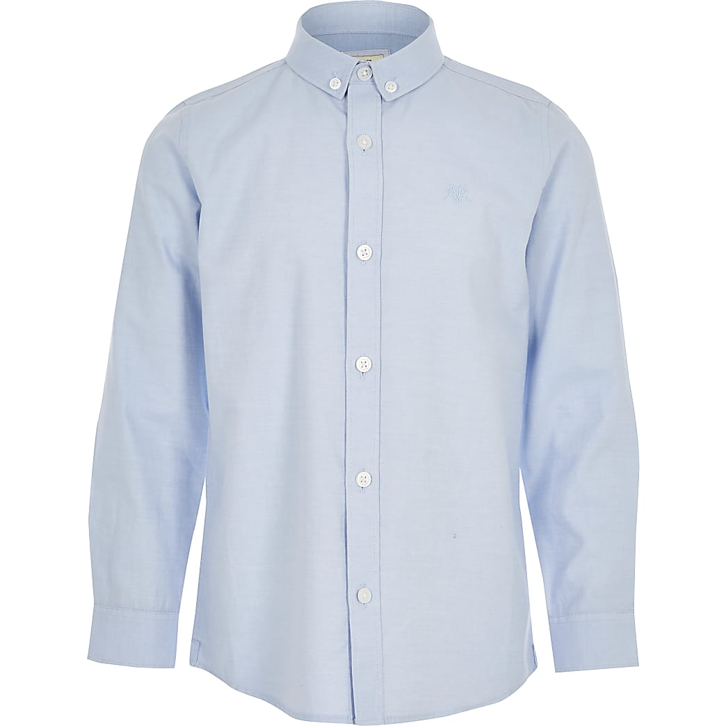 Boys blue long sleeve twill shirt