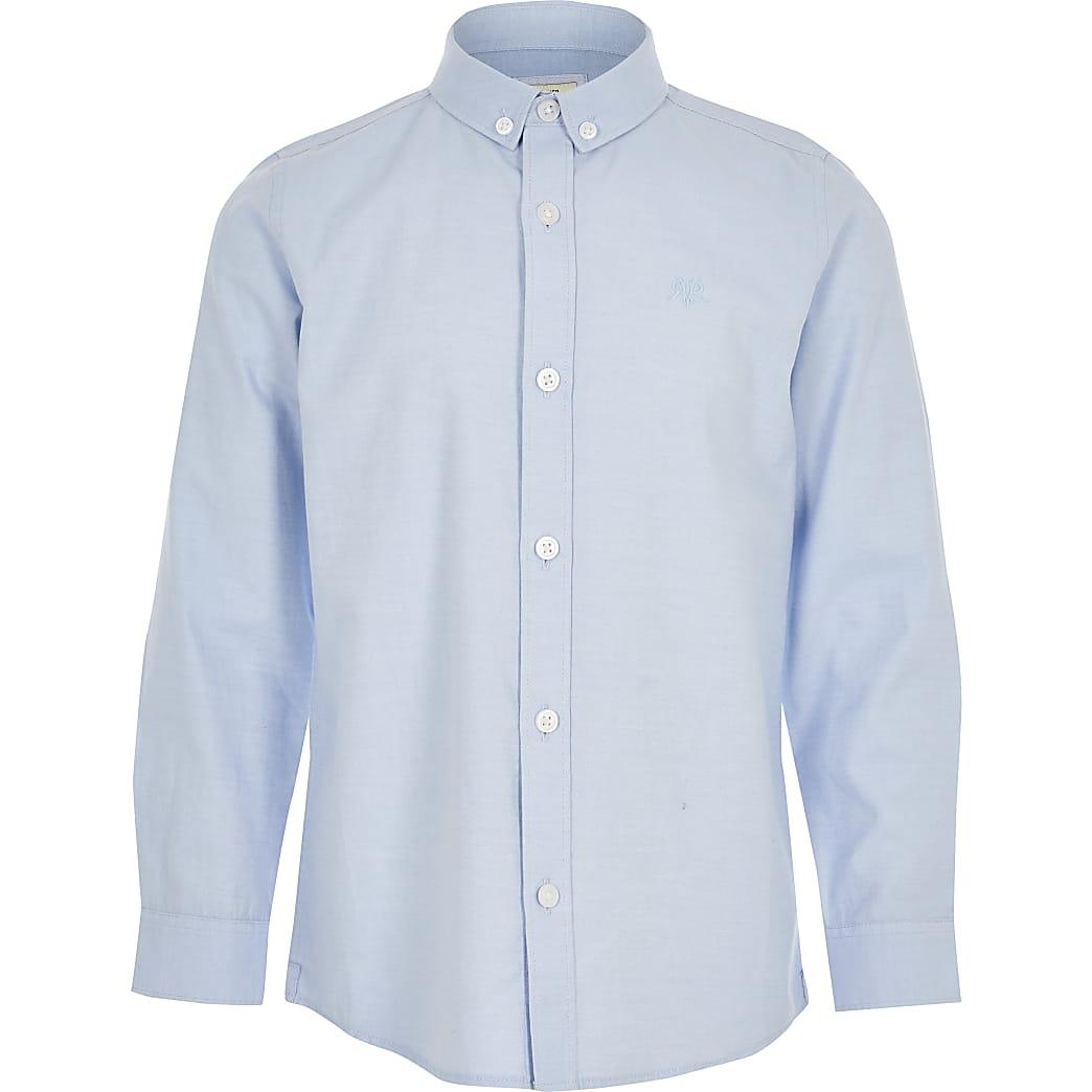 Blauwoverhemd van twill-stofmet lange mouwen voor jongens