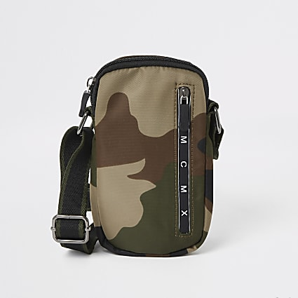 Boys camo print cross body flight bag