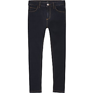Boys dark blue Ollie spray on skinny jeans