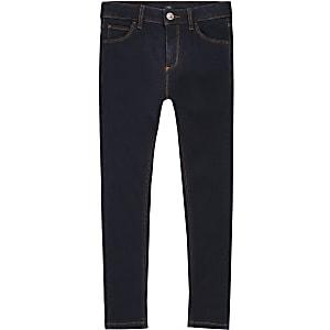 Ollie - Donkerblauwe spray-on skinny jeans voor jongens