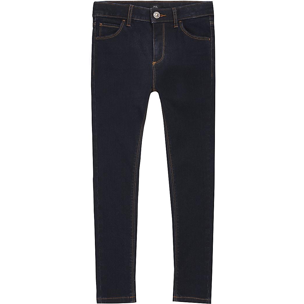 Boys dark blue Ollie spray on skinny jeans