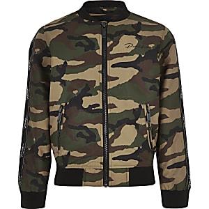 Kaki bomberjack met camouflageprint voor jongens