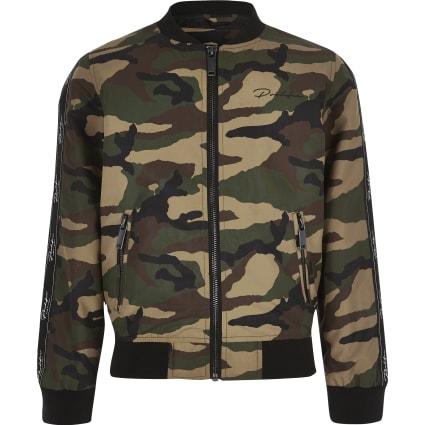Boys khaki camo bomber jacket