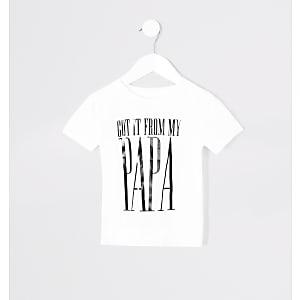 Mini - Twinning T-shirt met 'From my papa'-print voor kinderen