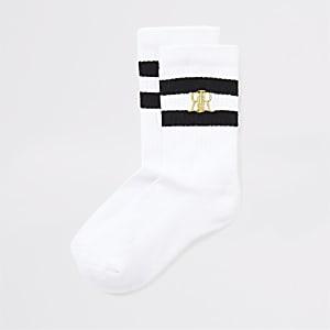Lot de2 chaussettes blanches à rayures noires pour garçon