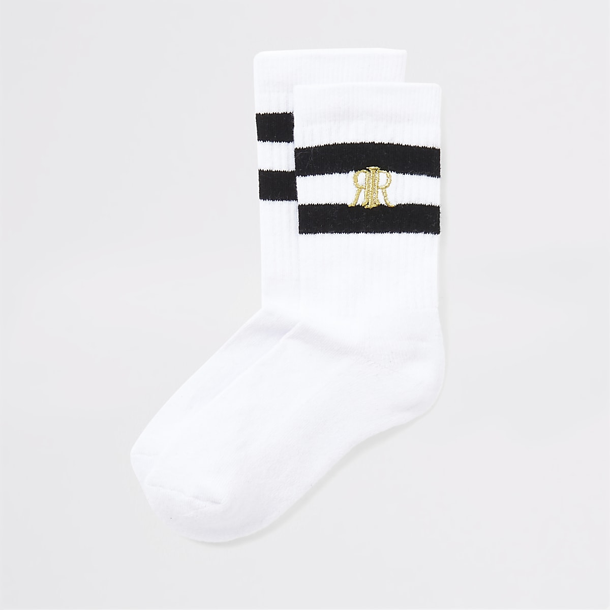 Boys white black stripe socks