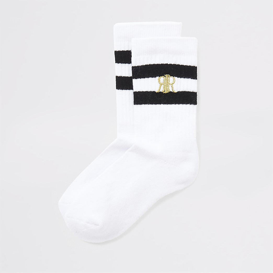 Boys white black stripe socks 2 pack