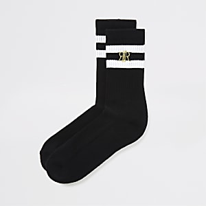 Boys black white stripe socks