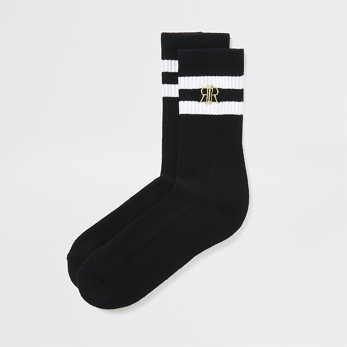 Boys black white stripe socks 2 pack