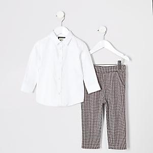 Mini - Witte set met broek met pied-de-poule-motief voor jongens