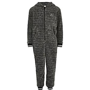 RI– Grauer Fleece-Einteiler für Jungen